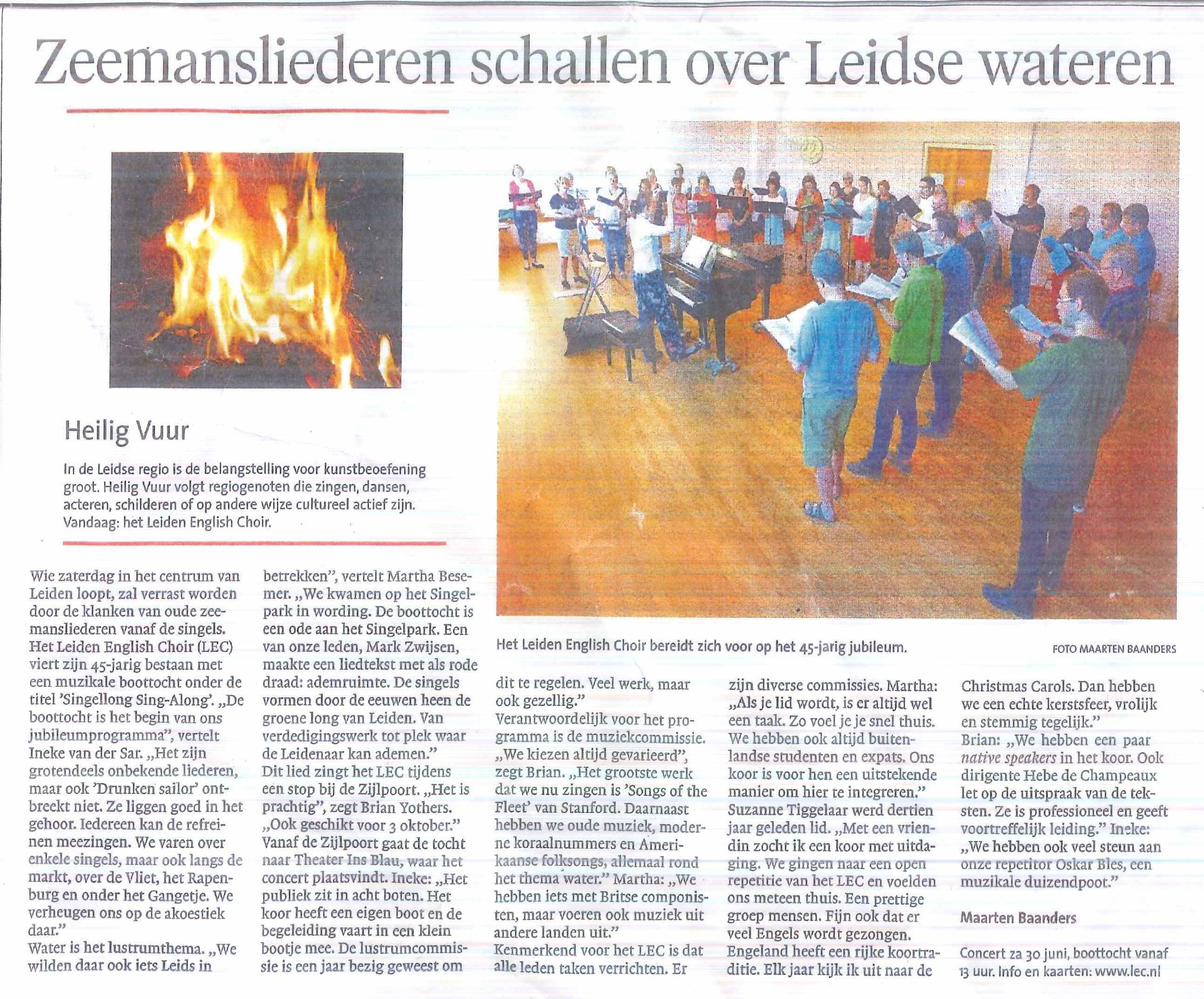 Artikel - Leidse Dagblad - Heilig Vuur